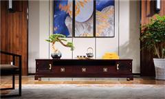 沽之大匠 赞比亚紫檀 血檀 听雨敲窗电视柜  客厅系列 新中式红木视听柜 现代中式红木家具