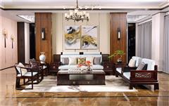 沽之大匠 赞比亚紫檀 血檀 听雨敲窗沙发12件套  客厅系列 新中式红木软体沙发 现代中式红木家具
