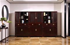 沽之大匠 赞比亚紫檀 血檀 听雨敲窗书柜 办公书房系列 新中式红木书柜 现代中式红木家具