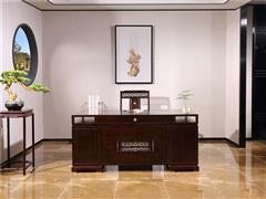 沽之大匠 赞比亚紫檀 血檀 听雨敲窗书桌2件套  办公书房系列 新中式系列 红木书桌椅 办公台 现代中式红木家具