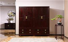 沽之大匠 赞比亚紫檀 血檀 听雨敲窗衣柜  卧室套房系列 新中式顶箱柜 现代中式红木家具