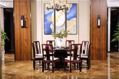 沽之大匠 赞比亚紫檀 血檀 听雨敲窗圆餐桌  客餐厅系列 新中式红木圆餐台 现代中式红木家具