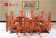 红天下 中式家具 中国风家具 明清古典 榫卯制作 媲美红木 小巴花 餐厅 1.58米清风如意圆桌 9件套