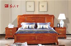 红天下 中式家具 中国风家具 明清古典 榫卯制作 媲美红木 小巴花 卧房 清风如意大床