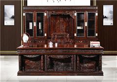 九宝红木 红木家具印尼黑酸枝(学名:阔叶黄檀)古典家具雕花豪华班台书柜书房系列中式书房