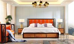忆古轩·世珀 新中式家具 当代东方家具 境观卧房组合 刺猬紫檀大床 红木卧房系列
