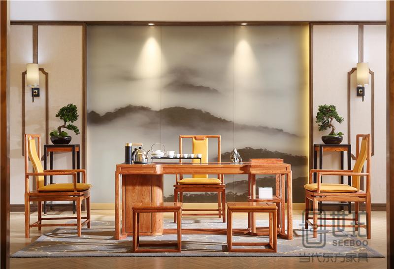 忆古轩·世珀 新中式家具 当代东方家具 庭前茶室组合 刺猬紫檀茶台 红木茶室系列