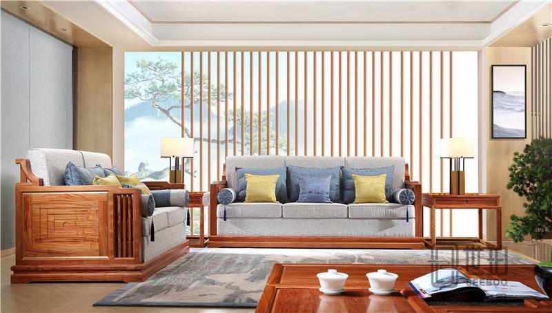忆古轩·世珀 新中式家具 当代东方家具 庭前客厅组合 刺猬紫檀沙发 红木客厅系列