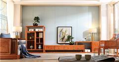 忆古轩·世珀 新中式家具 当代东方家具 庭前组合厅柜 刺猬紫檀家具 红木客厅系列