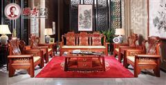 国寿红木·世外桃源 新明式红木家具 红木沙发 缅甸花梨家具 祥云宝座十件套