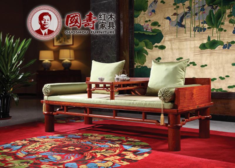 国寿红木·世外桃源 新明式红木家具 缅甸花梨家具 红木罗汉床 明式圆脚罗汉床两件套