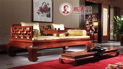国寿红木·世外桃源 新明式红木家具 缅甸花梨家具 红木罗汉床 万字罗汉床三件套