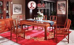 國壽紅木 緬甸花梨家具 如意長餐臺七件套 如意酒柜