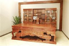 雅仕轩红木 缅甸花梨(大果紫檀)2.6米办公台+三组合书柜 书房系列 办公系列 新古典红木家具