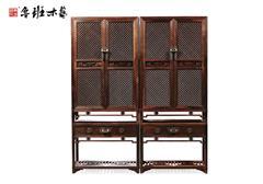 魯班木藝 紅木柜 大紅酸枝 明式家具 帶座木軸欞格柜