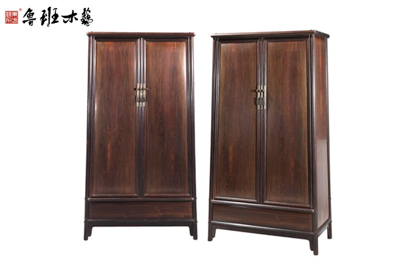 鲁班木艺 大红酸枝 明式家具 红木圆角柜 灯草线圆角柜