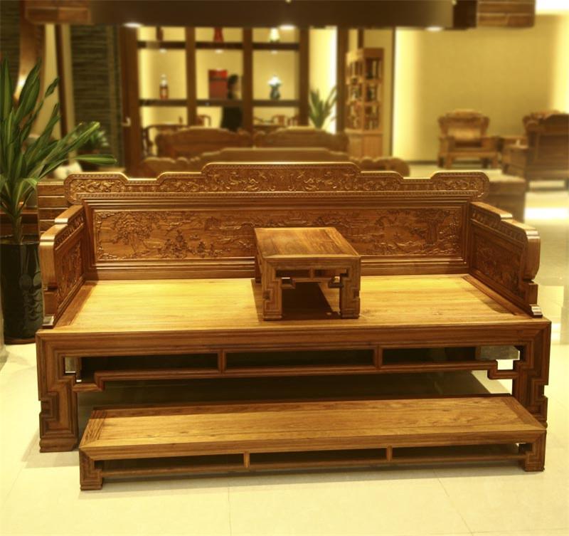 雅仕軒紅木 緬甸花梨(大果紫檀)寶座羅漢床 臥室套房系列 客廳系列 休閑系列 新古典紅木家具