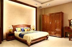 雅仕軒紅木 緬甸花梨(大果紫檀)大床+頂柜衣柜3件套+1對 臥室套房系列 新古典紅木家具