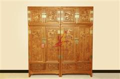 雅仕轩红木 缅甸花梨(大果紫檀)顶箱衣柜 卧室套房系列 新古典红木家具
