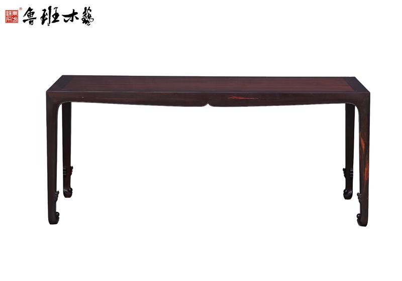 鲁班木艺 宋式画案 红木画案 大红酸枝红木 宋式卷珠足画桌