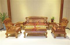 雅仕轩红木 缅甸花梨(大果紫檀)吉祥宝座沙发 客厅系列 新古典红木家具
