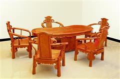 雅仕轩红木 缅甸花梨(大果紫檀)腰型茶台茶桌 客厅系列 休闲系列 新古典红木家具