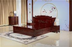 翰文红木  中式红木 卧室系列 红木大床 翰文红木 柬埔寨黑酸枝 1.8米财源大床