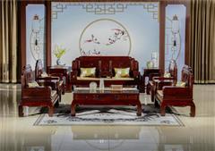 翰文红木 柬埔寨黑酸枝 富贵沙发11件 东阳木雕技艺 天然生漆 榫卯结构 新古典风格