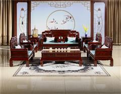 翰文红木 柬埔寨黑酸枝 国色天喷鼻沙发11件 器型稳重 雕花繁复 烘干处理到位  新古典风格