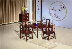 翰文红木 柬埔寨黑酸枝 明式小方桌 休闲系列五件套 新古典风格 造型简约