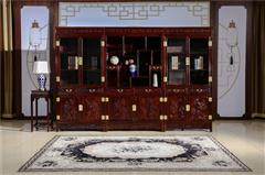 翰文红木 柬埔寨黑酸枝 清式三组合书柜 榫卯工艺 东阳木雕技艺 储物空间大 书房系列三件套