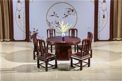 翰文红木 柬埔寨黑酸枝 2米素面圆台 一木独开 选料考究 烘干处理到位南北皆能适应 餐台系列