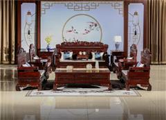翰文红木 柬埔寨黑酸枝 招财进宝沙发11件 烘干到位 用料足 雕刻精美 古典风格