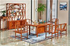匠王红木 刺猬紫檀 新中式风格 客厅系列 《茶台六件套》