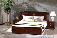 恒达木业 红木家具印尼黑酸枝(学名:阔叶黄檀)品韵大床中式大床卧室系列