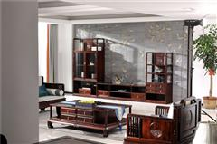 恒达木业 阔叶黄檀 红木家具 中式红木 客厅系列 红木柜 诗韵三组合厅柜