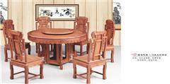 创辉红木 月堂坊 缅甸花梨(大果紫檀)1.38米光板圆餐桌餐台7件套 餐厅系列 新古典红木家具