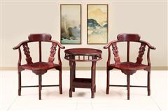 创辉红木 月堂坊 东非黑酸枝情人椅3件套 休闲系列 客厅系列 新古典家具