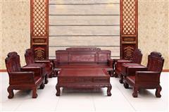 创辉红木 月堂坊 东非黑酸枝江山如画沙发13件套(1+2+3) 客厅系列 新古典沙发