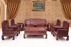 创辉红木 月堂坊 东非黑酸枝花开富贵沙发13件套(1+2+3) 客厅系列 新古典沙发