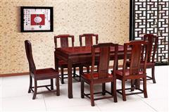 創輝紅木 月堂坊 東非黑酸枝花開富貴方餐臺餐桌7件套 新古典家具 餐廳系列
