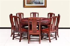 创辉红木 月堂坊 东非黑酸枝1.38米光板圆餐桌餐台9件套 11件套(8人位 10人位) 餐厅系列 新古典家具