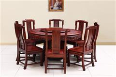 创辉红木 月堂坊 东非黑酸枝1.38米雕花圆餐桌餐台9件套 餐厅系列 新古典家具