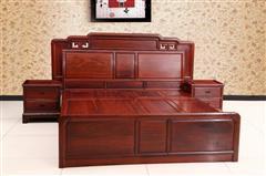 创辉红木 月堂坊 东非黑酸枝1.8米光板大床3件套 卧室套房系列 新古典家具