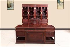 创辉红木 月堂坊 东非黑酸枝 书柜办公桌组合2件套+1对 书房系列 办公系列 新古典家具