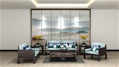 雍博堂红木·春风 印尼黑酸枝(阔叶黄檀)新中式红木家具 荣观弯脚沙发6件套(123) 客厅系列