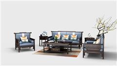 雍博堂红木·春风 印尼黑酸枝(阔叶黄檀)新中式红木家具  荣观明式沙发6件套(123) 客厅系列