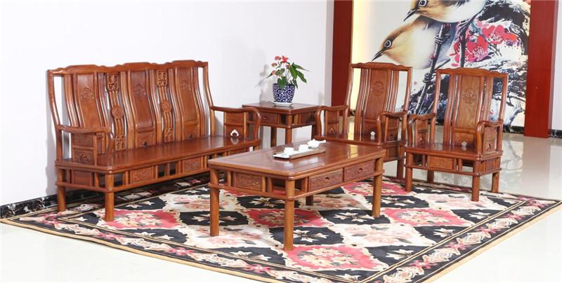 雍博堂红木 酸枝木明式花开富贵沙发5件套 客厅系列 新古典沙发