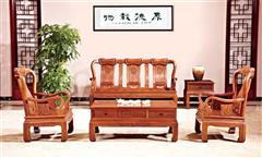 雍博堂红木 酸枝木美满富贵沙发5件套 客厅系列 新古典家具