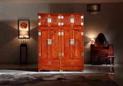 华厦·大不同 大果紫檀 缅甸花梨 中式家具 红木家具 古典家具 新古典家具 中式卧房 卧房系列 如意顶箱柜2件套